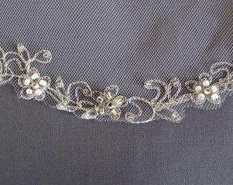 Beaded Wedding Veil, Silver Beaded Embroidered Veil, Scalloped Edge Bridal Veil, Waist Length Veil, 2-Tier Veil, Flower Veil, Ivory Veil