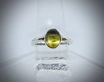 silver ring with oval citrine