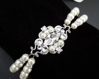 bridal pearl and crystal Bracelet, Statement Bridal Bracelet, Bridal Cuff, Wedding Rhinestone Bracelet, swarovski crystal bracelet, GABY