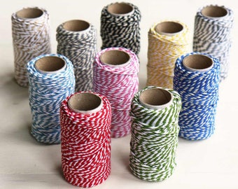 Bakers Cotton Twine | Christmas Gift Wrap | 20m roll in red, green, blue, yellow, pink, grey & black