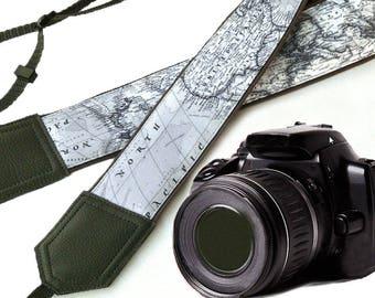 Grey DSLR / SLR Camera Strap. World Map Camera Strap. Camera accessories. Photographer gift.