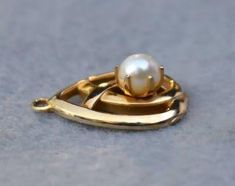 Gold Tone Cultured Pearl Pendant Vintage