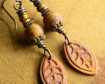 Artisan Earrings, Copper Metal Clay, Red, Noreena Jasper, Yellow, Ochre, Leaf, Leaves
