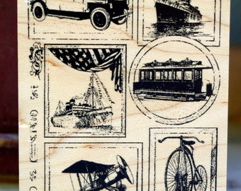 Destash Wood Mounted Rubber Stamp Club Scrap Limited Edition 2003 Travel Collage