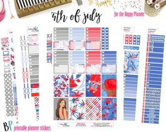 4th of July | Weekly Printable Planner Kit | Planner Stickers | Cut Line Files | for use with Happy Planner | Planner Stickers Printables