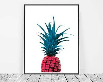 Pineapple Print, Digital Download, Printable Art, Pineapple Art, Fruit Print