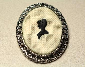 Victorian Cross Stitch Cameo Brooch Pendant