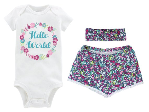 Hello World Girl Outfit Going Home Outfit Shorts Outfit Girl Summer Hello World Outfit Floral Outfit Beach Baby Shower Gift