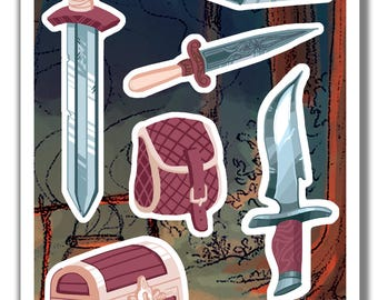 Adventurer sticker pack - 7 stickers of illustrated fantasy items