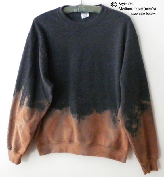 Gray Sweatshirt, tie dye crewneck sweatshirt, Acid Wash crewneck sweatshirt, Dip dye, Jumper, Sweater, sweatshirt, Gift Under 40, retro