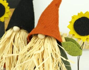 Gnome nordique, épouvantail et tournesol, VIGGO, Thanksgiving, Gnomes nordiques, scandinave, Thanksgiving, Halloween Gnome, Gnome, rustique de la maison