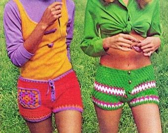 Crochet Pattern, Crochet Shorts PDF Pattern, Hippie Retro Instant Download Pattern
