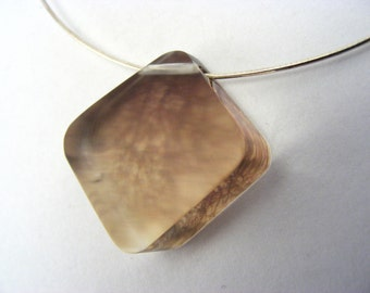 Pendant Perspex Beige Coloured with Wood Tree Branch Pattern, Diamond shape Handmade Acrylic on Sterling Silver Wire