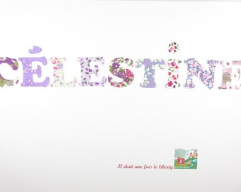 Applied fusible customizable name 9 letters (ex. proposed Celestite) fabric mauves and purples