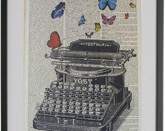 Typewriter Print No.116, typewriter poster, vintage typewriter, vintage decor, butterflies, girlfriend gift, boyfriend gift, dictionary art