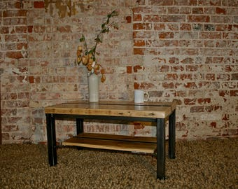 upcycled pine and steel coffee table, industrial, rustic