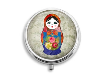 Babushka 1 Russian Doll Pill Box, Pill Case, Pill Container, Mints Container, Trinkets Box, Jewelry Box (P020)
