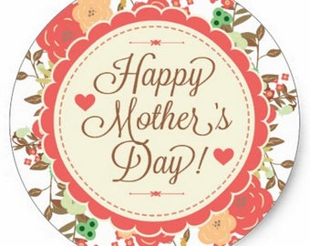 """30 pcs/set Happy Mother's Day-text Round Floral stickers 1.5"""" inches"""