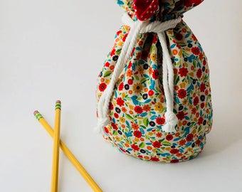 Large floral drawstring bag