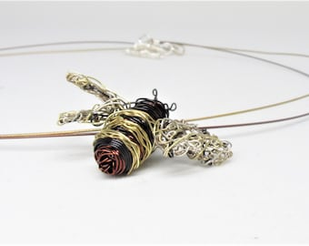Bee necklace, bee pendant, wire sculpture, Insect art jewelry, boho chic, black gold, Spring, Summer, mothers day, cute gift for girlfriend
