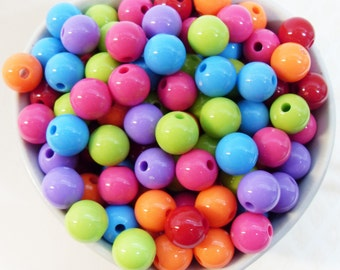 50x 10mm Resin Multi color Globe beads .. Bubblegum Fun