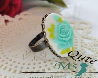 Romantic Rose Ring - Soft aqua