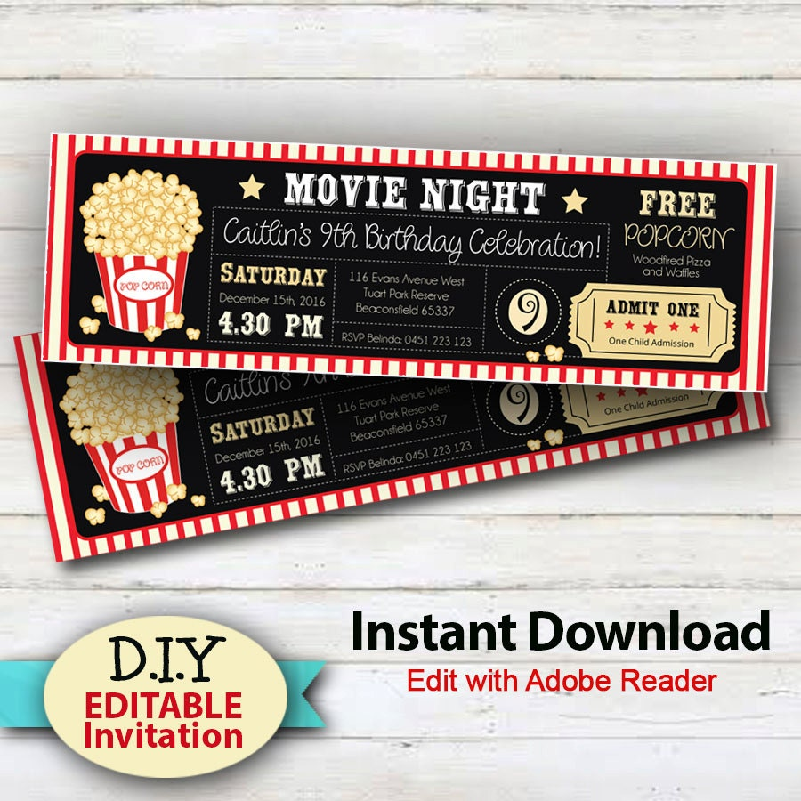 EDITABLE Instant Download Movie Party Invitations Boy or