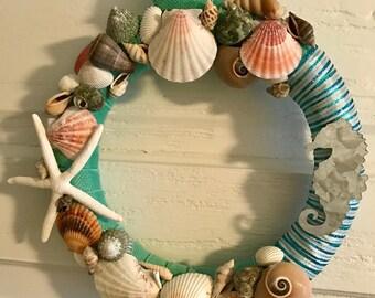 Seashell Wreath, Coastal Wreath, Beach, Summer, Cottage Decor, Home Decor