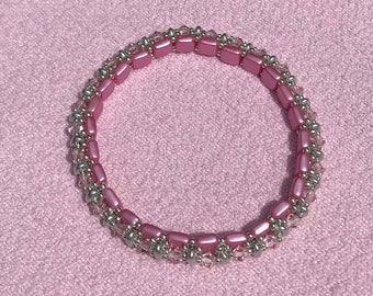 A Pink and Silver Crystal Bangle