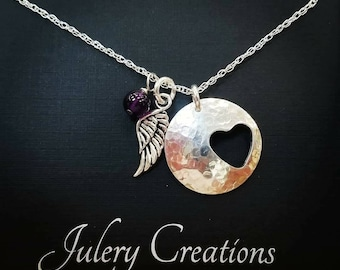 Silver heart cut out Remembrance Necklace with amethyst