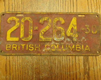 Highly Collectible 1930S British Columbia License Plate, Sought After British Columbia License Plate, Vintage 1930S Plate, Collectible