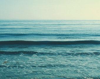 beach photography, seascape, mint blue water, ocean wave photograph, serene, calming, cerulean, nursery decor, yoga studio art, coastal