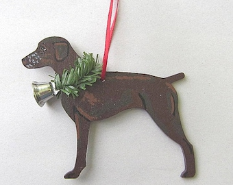 Hand-Painted GERMAN SHORTHAIR POINTER Solid Color Wood Christmas Ornament...Artist Original, Christmas Tree Ornament Decoration