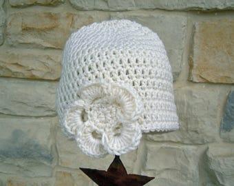 Little Girl's Ivory Crochet Beanie Winter Hat, Toddler Girl Winter Hat with Flower
