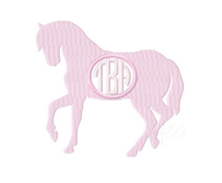 Horse Circle Monogram Embroidery Design Frame Horseback Riding