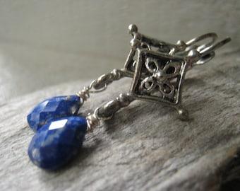 Lapis Lazuli Earrings Teardrop Earrings Silver Earrings Gemstone Earrings Statement Earrings Item No. JE2110
