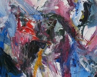 Birdsong ABSTRACT Painting 16 x 20 expressive blue pink purple black