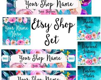 Etsy Shop set watercolor bouquet flowers shop header blue pink modern watercolor graphics floral feminine