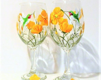 California Poppies and Hummingbirds Hand Painted Wine Glasses Set of 2 / 20 oz. Wedding Gift Bridesmaids Gift Orange and Yellow Poppies