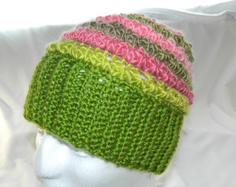 Crocheted Spring Bloom Slouchy Beanie Hat