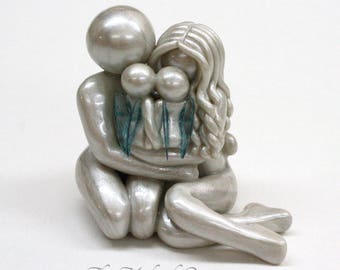 Bespoke Memorial Statue for Twins or Multiple Losses - Parents and Angel Babies clay sculpture - heartfelt keepsake - made to order