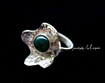 Silver Green Agate Ring
