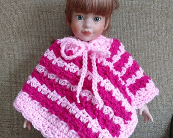 "18"" Doll Clothes, Crocheted Poncho, Fits American Girl Dolls, Crocheted Handmade Doll Clothes, Country Goods"