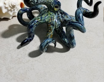 Blown Glass Octopus Sculpture Under the Sea Creature Tentacle Gift for Him Nautical Ocean Art