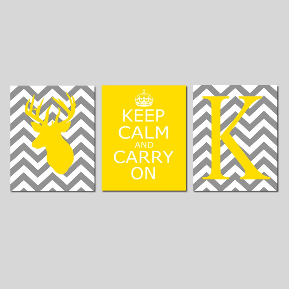 Chevron Deer Keep Calm Carry On Chevron Monogram Trio Set
