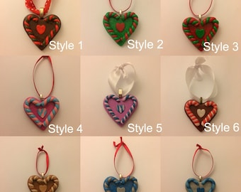 Christmas Decoration - Polymer Clay - Christmas Heart - Candy Cane - Home Decor - Christmas Tree - Baubles - Heart Bauble - Clay Bauble