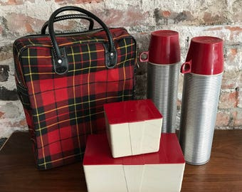 Plaid Thermos Set - 5 Pieces