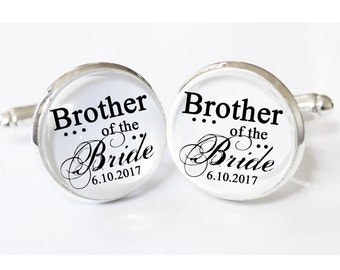 Brother of the Bride Gift - personalized mens cufflinks - Brother of Bride gift - wedding cuff links - weddings- - gift ideas for Brothers