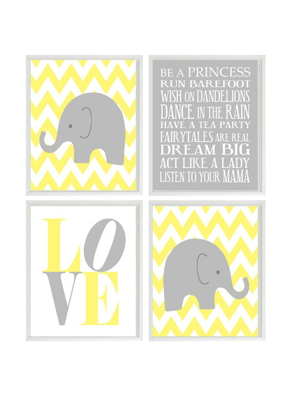 Elephant Nursery Art Chevron Wall Art Gray Yellow Nursery