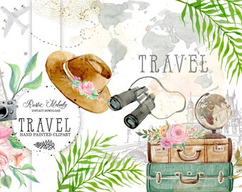 Travel Clipart ,Watercolor Clipart ,Safari Illustration, Hand Painted ,Floral Clipart Instant Download Clipart